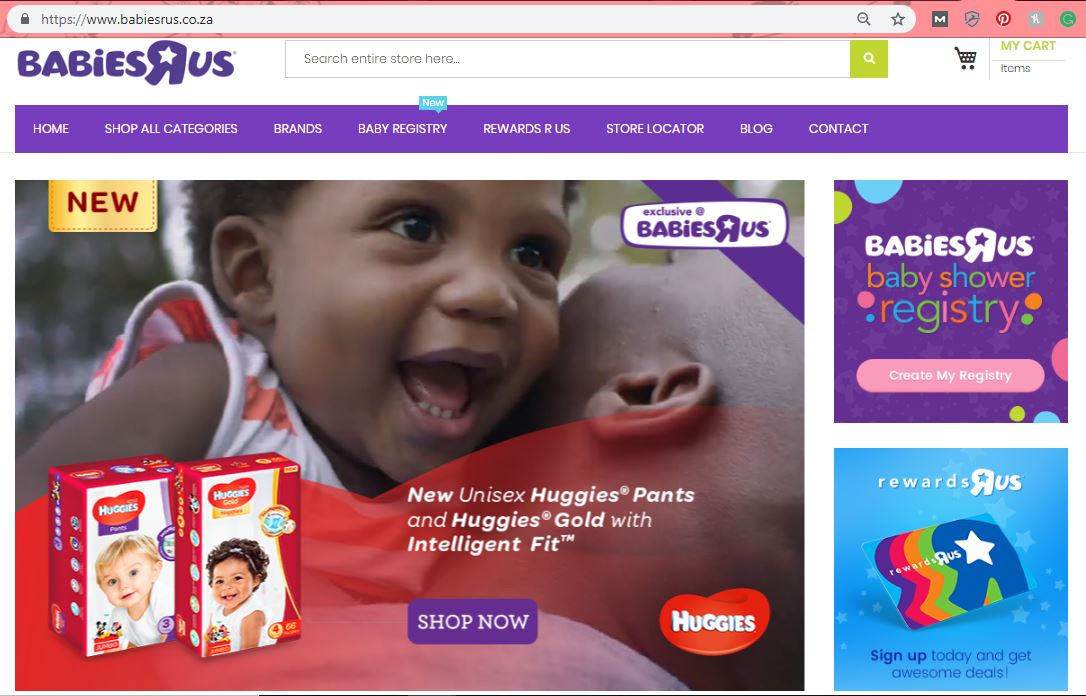 An image of BabiesRUs website