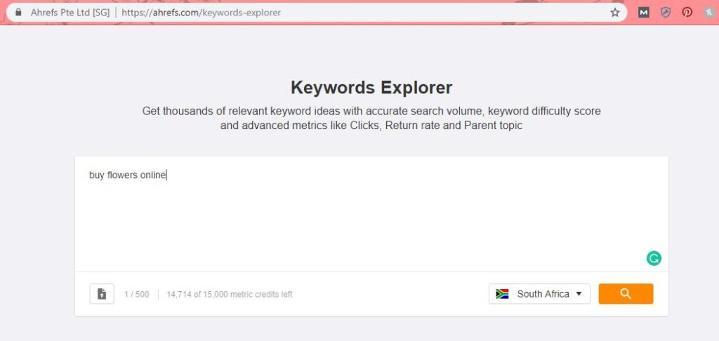"An image of Ahrefs keyword explorer for the term ""buy flowers online""."