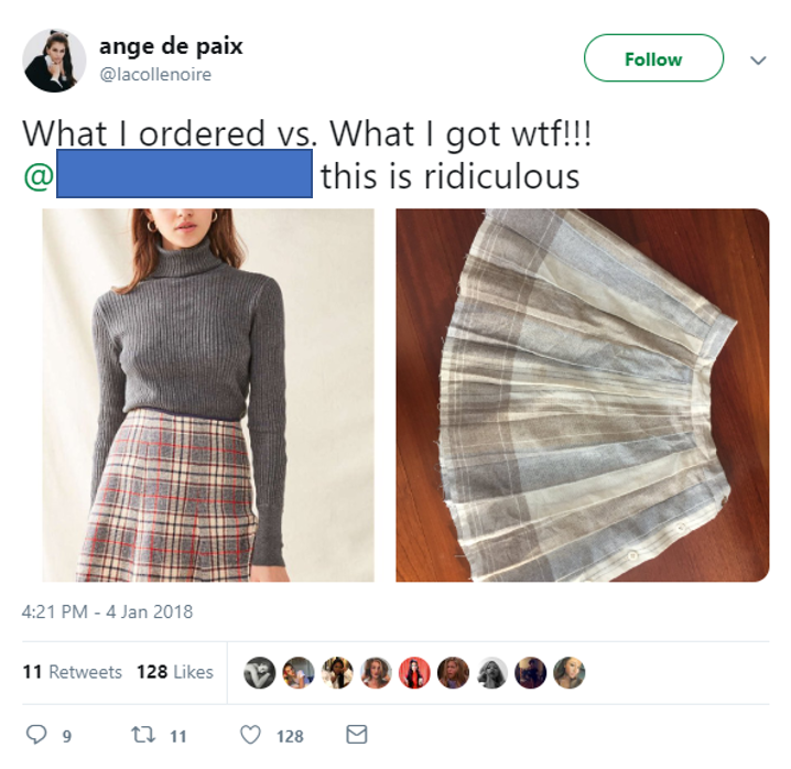 An image of a customer on Twitter complaining about an order she got.