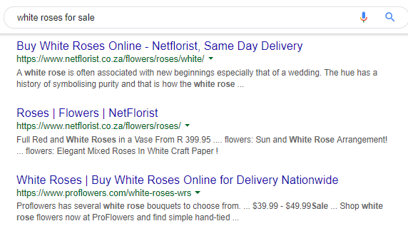 "An image of Google's ""white roses for sale"" search results."
